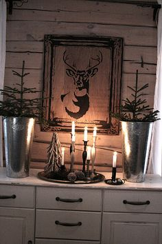 Deer printed on burlap and framed!