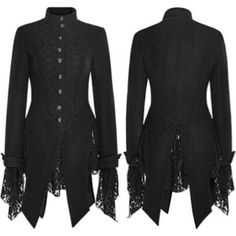 Black Embroidered Single Breasted Gothic Dress Jackets Women SKU-11401025