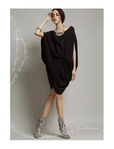 Bat Shape Sleeve Chiffon Dress Black Jeans 9d58ca1be989