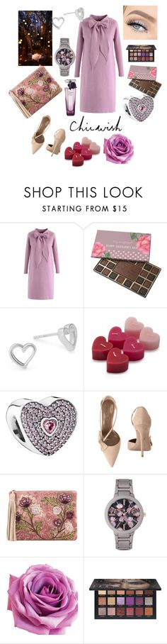 """""""All Eyes on You"""" by sallytcrosswell on Polyvore featuring Chicwish, Alex and Ani, Sur La Table, Pandora, Aquazzura, Sam Edelman, Nine West, Huda Beauty and Lancôme"""