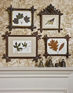 another cheap decorating idea DIY--frame leaves! http://www.countryliving.com/homes/how-to-get-the-look/budget-decorating-makeover-0109#slide-32