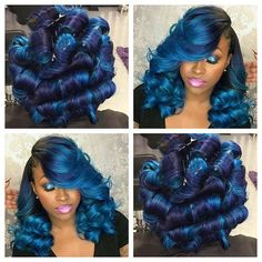 @kreations_bykii this #customcolor #blue #install is perfection. This is giving us sooooo much life right now!!! Job well done...#beautiful. ...Be sure to check out the stellar vivid #blue tones in the #kissexpresscolor line to create looks like this!!!! #midnightblue #aquarius #blueblack #bluehair #hothair #longhair #curlyhair #colorists #hairstylist #virginhair #extensions #instabeauty #haircolorgoals #picoftheday #hairtrends #trendsetter #bluehairdontcare #flstylist
