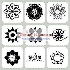 Korean Traditional Pattern Stickers Decorative Film Flowers