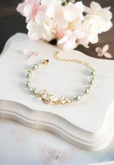 Gold Orchid Flower Sage Green Pearl Bracelet Olive Sage by LeChaim