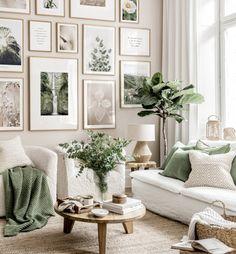 Sage Living Room, Beige Living Rooms, Living Room Themes, Living Room Color Schemes, Boho Living Room, Living Room Colors, Living Room Designs, Art For Living Room, Neutral Living Rooms