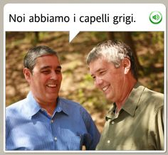 """WE HAVE GRAY HAIR, LOL."" OK, I threw the 'LOL' in there but just look at them! They obviously aren't taking this drastic life change seriously. You could also put a ""WTF?"" in there and get the same effect.  The funniest stock images from Rosetta Stone - MWL #languagelearning #Italian #funny"