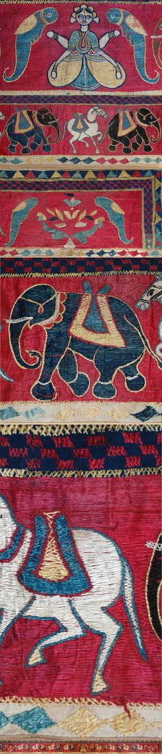Silk Embroidery on cotton Wall Hanging Circa 1850 Chinese Embroidery, Indian Embroidery, Indian Prints, Indian Textiles, Fabric Patterns, Embroidery Patterns, Kantha Quilt, Quilts, Kutch Work