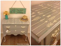 Stenciled furniture using the Indian Arrows Allover stencil pattern. http://www.cuttingedgestencils.com/indian-arrows-stencil-pattern-for-walls.html  #accent #pillows #personalized