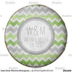 Lime Grey Chevron Monogram Wedding Favor