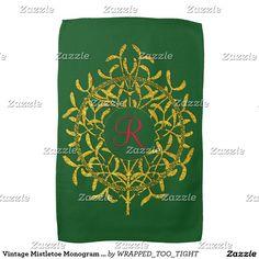 Vintage Mistletoe Monogram Personalize Hand Towel