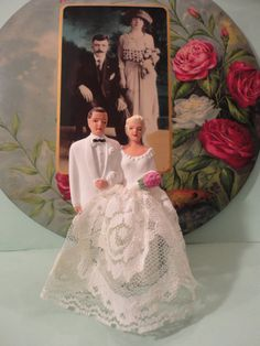 Vintage 1950's Bride and Groom Wedding Cake Topper...w/ Lace...NICE via Etsy.