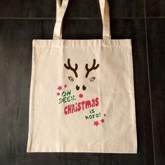 Rudolph The Red Nosed Reindeer Christmas tote bag, canvas tote bag hand painted bag, natural cotton bag, Eco friendly, shopping bag Rudolph Christmas, Christmas Deer, Plastic Shopping Bags, Rudolph The Red, Red Nosed Reindeer, Oh Deer, Cellophane Bags, Cotton Bag, Canvas Tote Bags
