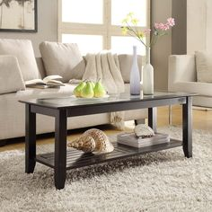 Convenience Concepts Carmel Rectangle Wood and Glass Coffee Table with Shelf - 938082