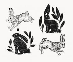 Bunny Tattoos, Rabbit Tattoos, Rabbit Art, Rabbit Head, Vintage Stamps, Logo Vintage, Medieval Tattoo, Lino Art, Forest Art