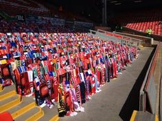Anfield: 96 seats empty; draped in scarves from teams across country 25 yrs after Hillsborough