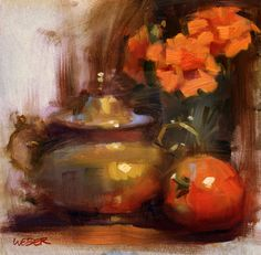 Paintings by Kathy Weber: Marigolds and tomato- sold
