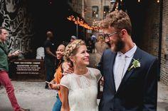 Bride in short sleeve wedding dress - Roof top wedding | fabmood.com #rooftopwedding #shortweddingdress #weddingdress #bluepumps #blueshoes #bride