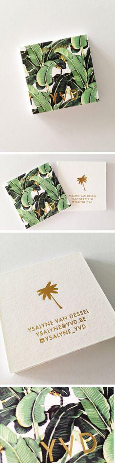 Naamkaartjes multiloft + goudfolie. Banana leaf