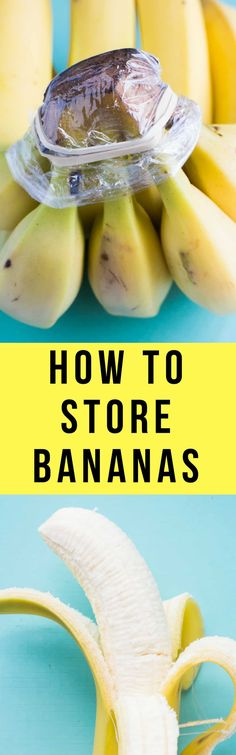 How to Store Bananas! These easy tips will prevent your bananas from turning brown! Tricks includes storing with fruit, plastic wrap, banana trees and more. Keep Bananas Fresh, Freeze Bananas, How To Store Bananas, Storing Fruit, Fruit Preserves, Banana Recipes, Fruit Recipes, Food Is Fuel, Frozen Banana