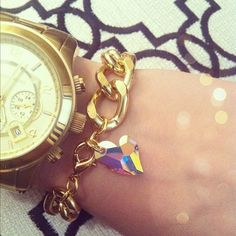 Gold Chain Bracelet with Swarovski Heart Crystal AB. - O My Heart!