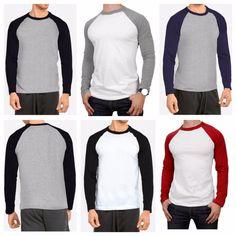 T-Shirts Men's Long Sleeve T-Shirt Baseball Raglan Casual Workout Fashion Crew Neck Tee Blackpink Fashion, Fitness Fashion, Fashion Outfits, Casual Wear, Casual Outfits, Mens Baseball Tee, T Shirt Design Template, Shirt Outfit, Men Dress