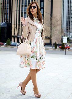 39c684759493a ベージュのライダーズジャケットと合わせる花柄ワンピ♡ワンピースコーデ♡スタイル・ファッション