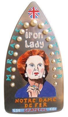 Margaret Thatcher,laurent jacquy, french outsider, peinture sur fer à repasser