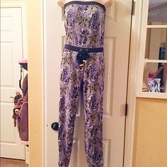 """Beautiful Juicy Couture jumpsuit- elastic @ ankle I love this jumpsuit! Purple with hints of silver sparke- FP - inseam to ankle 27 1/2"""" Free People Other"""
