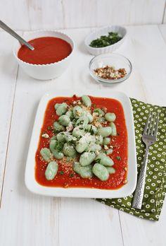 Basil gnocchi with roasted garlic & tomato sauce