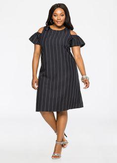 Striped Cold Shoulder Linen Dress Striped Cold Shoulder Linen Dress