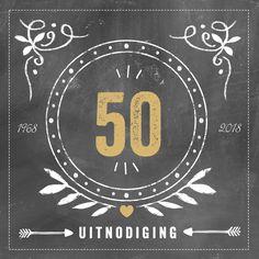#jubileum #getrouwd #feest #uitnodiging #hipdesign #uitnodigingmaken #gouden #jubileum #50jaar #krijt