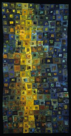 Abstract art quilt - Any color or tonal similarity between this image and that of a recently-posted 1966 Citroen DS, is entirely coincidental...K