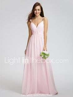701e5a4c33f A-Line V Neck   Spaghetti Strap Floor Length Chiffon Bridesmaid Dress with  Side Draping   Criss Cross by LAN TING BRIDE® 2019 - US  87.99