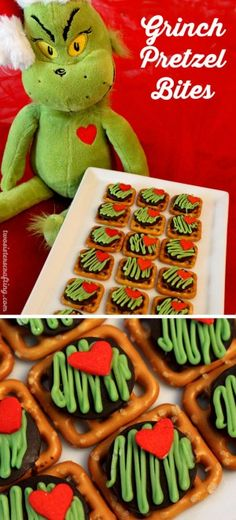 Grinch pretzel bites. The Grinch Christmas Treats! Adorable fun food ideas for your next Holiday party. Grinch cakes, popcorn, cocktails and school snacks.