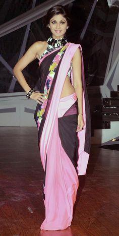 Shilpa Shetty played around with her desi look in a casual resort-wear sari by Shivan & Narresh http://buy.ShivanAndNarresh.com/ @ Dance TV Show Nach Baliye 6