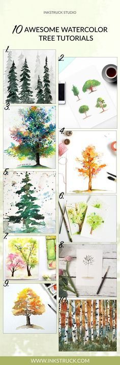 10 Awesome Watercolor Tree Tutorials - Inkstruck Studio Want to learn how to paint a watercolour tree? Look no further, because I have 10 really easy water Watercolor Painting Techniques, Watercolor Tips, Watercolor Projects, Watercolour Tutorials, Painting Lessons, Watercolor Flowers, Art Lessons, Painting & Drawing, Watercolor Paintings