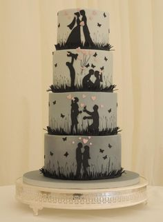 Love Story Silhouette Wedding - Cake by Shereen