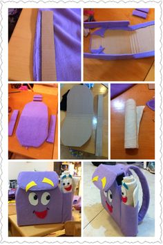 Backpack and map for Dora costume. I made it from cardboard and fabric. Don't you loooove it?!
