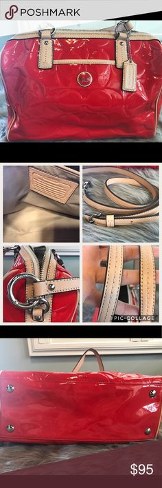 Authentic Coach Purse Beautiful authentic coach purse. Candy apple red patent leather with leather trim,  very, very, clean no stains inside and out. Comes with additional long leather strap. Coach Bags Totes