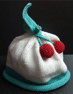 Darling 100% cotton heirloom hat by Margareta Horn Designs-cherries-sz. NB-3 mo.