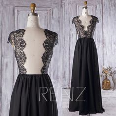 2016 Black Bridesmaid Dress, V Neck Lace Wedding Dress, Backless Prom Dress, A Line Chiffon Evening Gown, Cap Sleeves Formal Dress (H299)