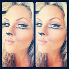 Pretty cat makeup for Halloween Cat Halloween Makeup, Looks Halloween, Maquillaje Halloween, Cat Makeup, Holidays Halloween, Halloween Costumes, Lion Makeup, Deer Makeup, Bunny Makeup