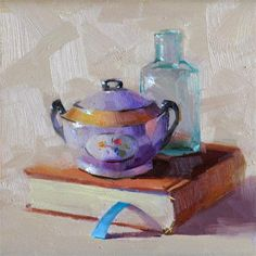 "Lovely still life! ""Purple Sugar Bowl"" - Original Fine Art for Sale - © Qiang Huang"