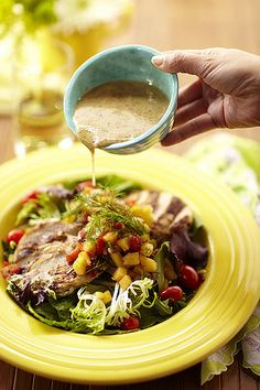 This salad recipe from our cookbook is just peachy. Get it here! #NationalSaladMonth