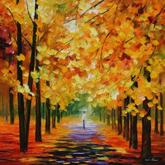 """Print on artistic cotton canvas. THE GOLD OF FALL by Leonid Afremov. Size: 20""""""""x20"""""""""""