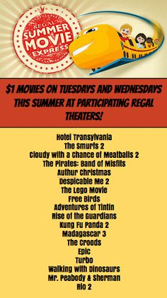 $1 Movies this Summer at Regal!  Mark your calendar for the movies you and your kids want to see for entertainment on the cheap!