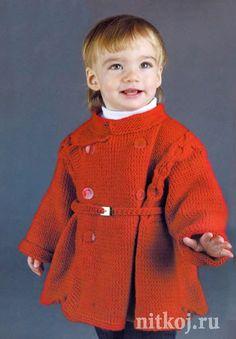 Красное пальто <em>вяжем</em> спицами для девочки