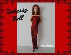 Model Muse Barbie Doll kleren - Sexy Black Lace rood satijn jurk en bijpassende sieraden Set - Custom mode - door dolls4emma