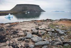 Inuit, Thulé, Groenland. Cercle de pierre, feu, ossements.