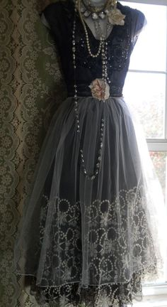RESERVED for Lisa Deposit for Black beaded dress holiday party white tulle custom by vintage opulence on Etsy Vintage Dresses, Vintage Outfits, Vintage Fashion, Vintage Opulence, Beautiful Outfits, Cute Outfits, Beautiful Things, Look Retro, Holiday Party Dresses